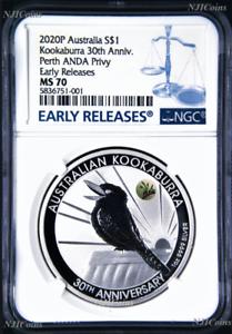 2020-30th-Ann-Kookaburra-1oz-Silver-Coin-Kangaroo-Paw-Privy-NGC-MS70-ANDA-BL-LB