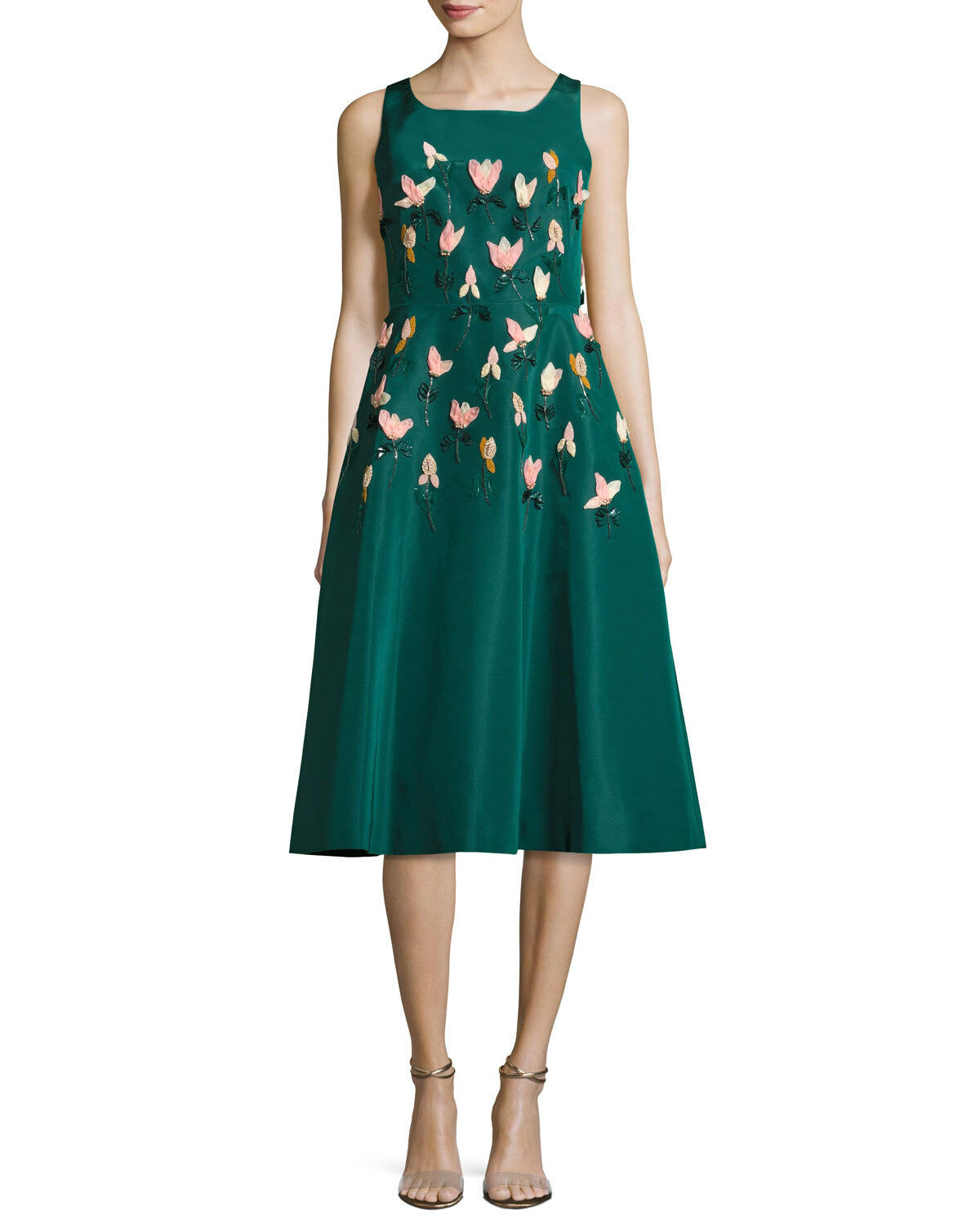 3695 New LELA pink 3 D Peach Tulip Embroidered Teal Faille A Line Green Dress 4