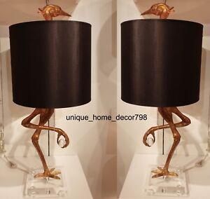 New-Ibis-Table-Lamp-Set-Black-amp-Gold-Living-Room-Bedroom-Crane-Bird-Light-Pair