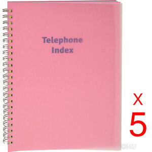 5-X-PHONE-BOOK-EXECUTIVE-ADDRESS-PAD-CONTACT-DATA-NOTE-TELEPHONE-DIARY-COLOURED