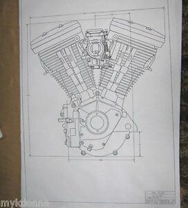 harley davidson 80ci evolution engine blueprint hd poster print