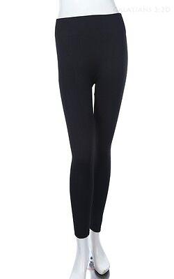 Solid Plain Seamless Basic Inner Fleece Full Length Leggings Nylon Span ONE SIZE