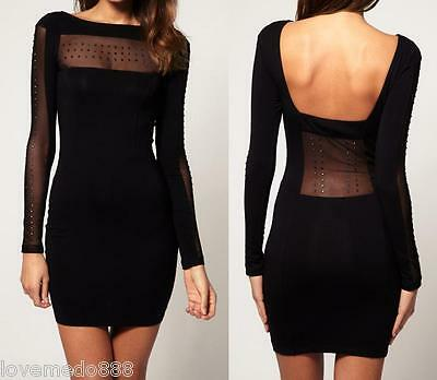 Womens Mesh see through sequin decor club PARTY bodycon dress S, M, L, XL Black