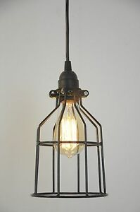 Image Is Loading Metal Bulb Guard Lamp Light Cage Pendant Hanging