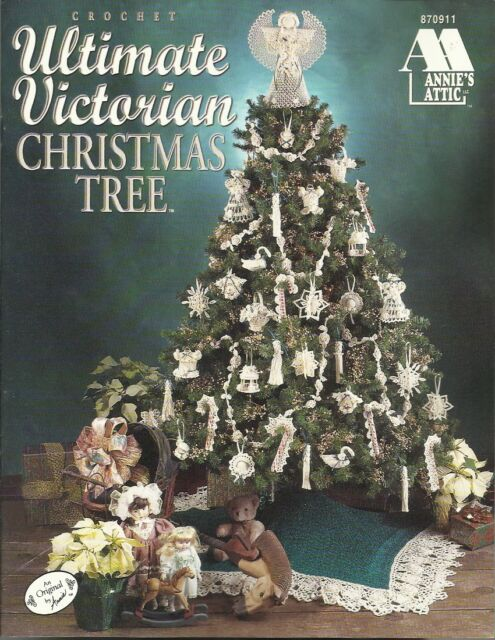 Victorian Christmas Tree.Ultimate Victorian Christmas Tree Crochet Angel Skirt Ornaments Basket Vintage