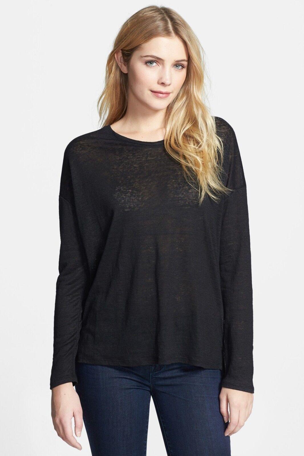 NWT- Vince Long Sleeve 100% Linen Tee Shirt, schwarz - Größe XXSmall