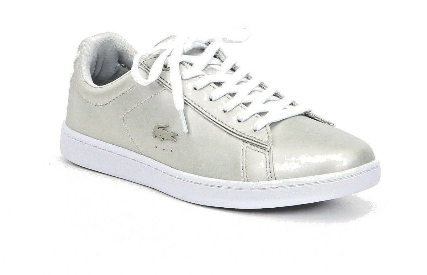 Lacoste Carnaby Evo 118 1 Women's Size 10 Silver Leather Satin Lace Up Sneakers