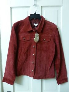 Christopher-amp-Banks-Lightweight-Jacket-Coat-Red-Burgundy-Pig-Suede-Leather