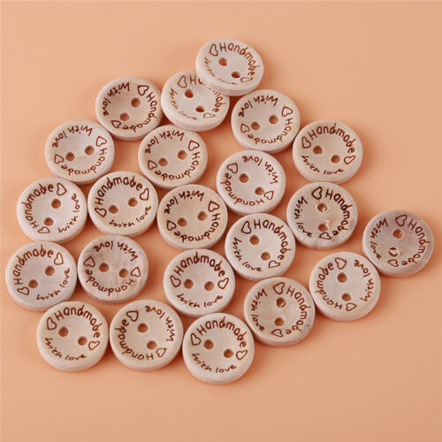 100Pcs//lot Wooden Round Flower Carving Two Hole Flat Button Sewing Craft DIY