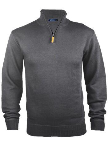 Homme Doux Demi Fermeture Éclair À Col Cheminée Pull Sweater Haut Grand-père Pullover Haut S-XXL Neuf