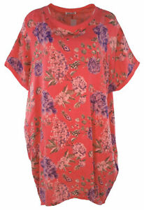 Italian Ladies Floral Linen Baggy Top Tunic Women Summer Lagenlook Top Plus Size