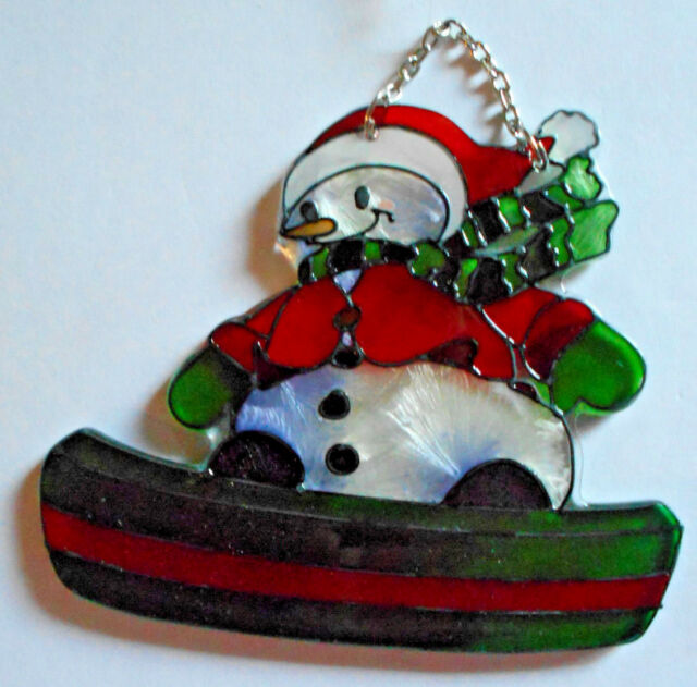 Snowboarding Snowman Christmas Stained Glass Sun Catcher Ornament Joan Baker