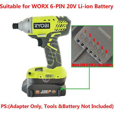 WORX 20V Cordless Tools 6-PIN Battery Adapter Work with WORX 20V 4-PIN Battery
