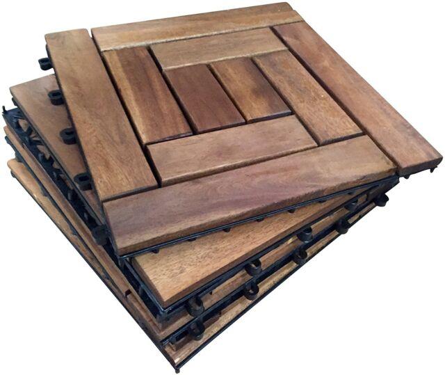 6x Wooden Interlocking Acacia Hardwood Decking Tiles 10 Slat Deck Tile Patio