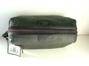 DOPP-Black-Leather-Travel-Toiletry-Kit-Overnight-Shave-Case-Bag-NEW-NWT-6822