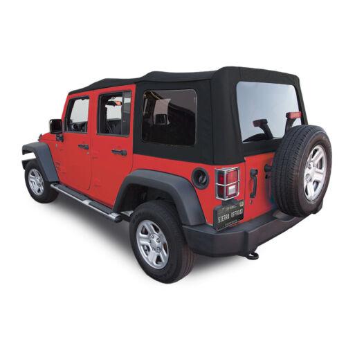 Jeep Wrangler 4 DR JK Soft Top Black Twill 2007-09 Tinted Windows