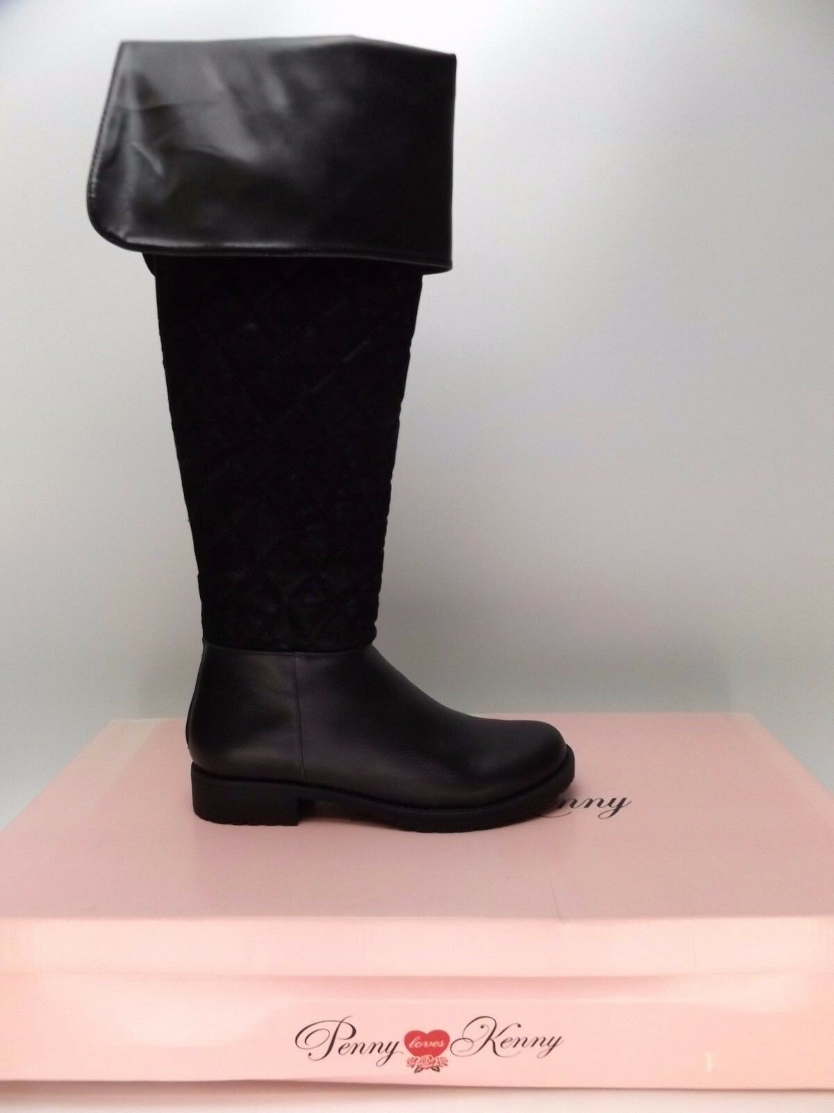 Penny Loves Kenny NEW Womens Dion Black Quilted Knee-High Boots SZ 8.5 M   D2173