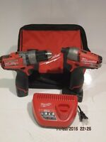 Milwaukee 2597-22 M12 FUEL 12V Cordless Lithium-Ion 1 2 in. Hammer Drill Driver & Impact Combo Kit Tools and Accessories