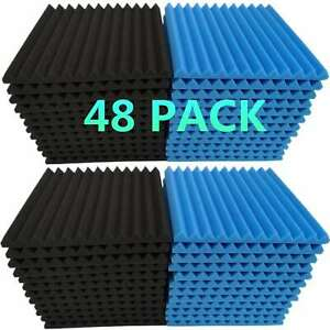 48-Pack-Acoustic-Foam-Panel-Wedge-Studio-Soundproofing-Wall-Tiles-1-034-X-12-034-X-12-034