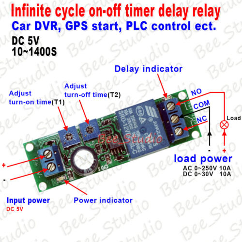 DC 5V//9V//12V//24V Loop Cycle ON OFF Timer Control Delay Time Relay Switch Module
