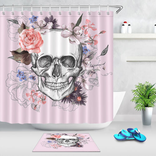 72x72/'/' Bathroom Waterproof Shower Curtain Skull And Flowers Day Of The Dead