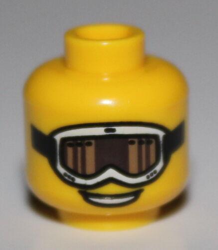 Lego Yellow Minifig Head Glasses White Ski Goggles Tan and Brown Glass
