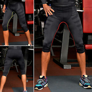 Mens-Thermal-Compression-Under-Base-Layers-Shorts-Pants-Sports-Cropped-Tights-US