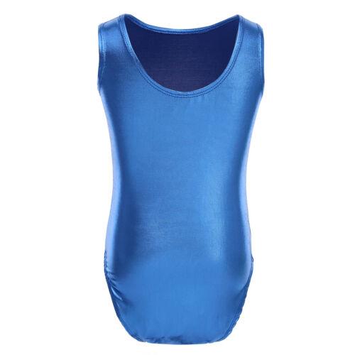 Kids Girls Dance Gymnastics Shiny Metallic Leotards Tutu Dress Dance Wear Outfit