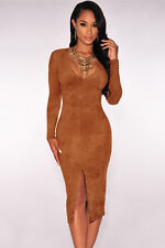 Boldgal Western Party Wear Midi One-Piece Women Fashion Suede Dress