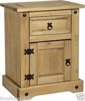 Corona 1 Door 1 Drawer Bedside Chest In Waxed Pine 53cm(w) X 39cm(d) X 67cm(h)