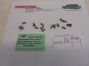 1955-1956-1957-Chevy-20-187SS-Htp-Conv-Nomad-BELT-MOULDING-Screw-Set-Stainless