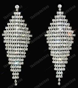 Image Is Loading Clip On Huge Rhinestone Earrings Long