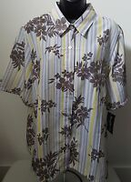 Bon Worth Woman's Multi Color Striped/floral Button Down Shirt Size L