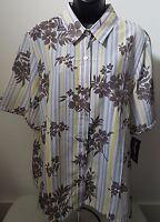 Bon Worth Woman's Multi Color Striped/floral Button Down Shirt Size L