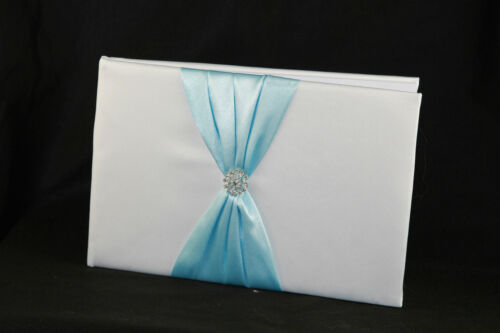 Wedding White Guest Book Silver Pen Stand Set Cyan Light Blue Sach Bow Ring stud
