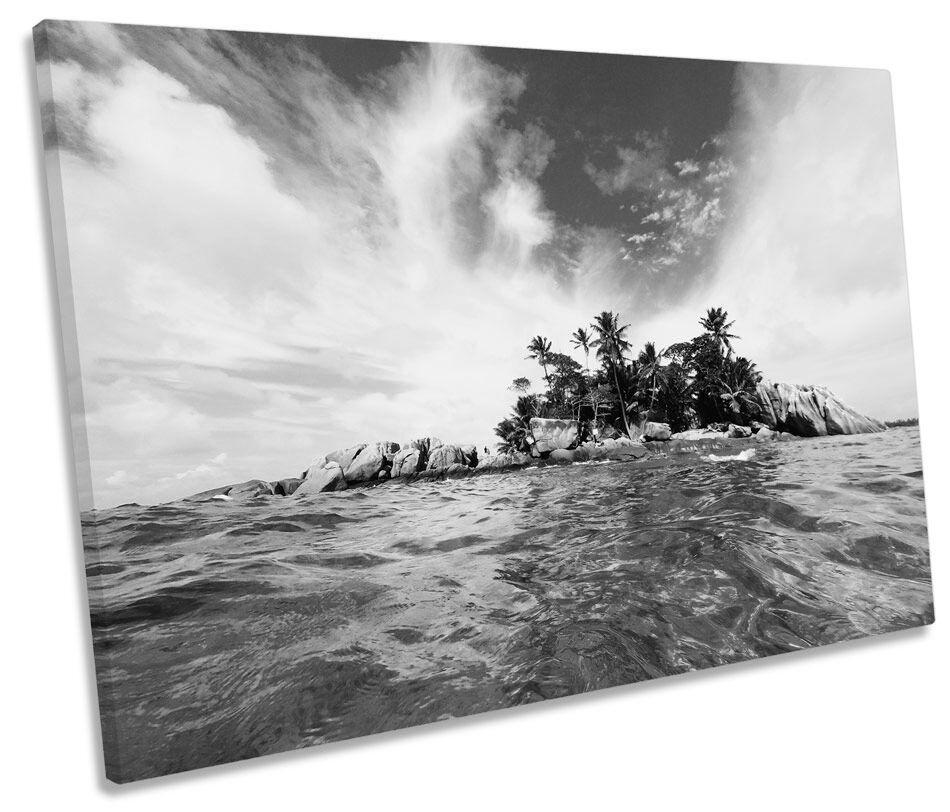 Isla desierta playa Paisaje B&w LONA parojo arte Foto Foto Foto impresión única 3089fd