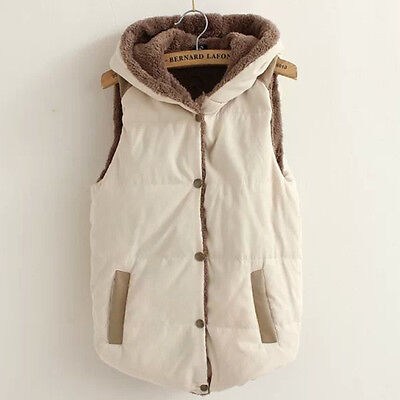 Womens Winter Warm Vest Hoodie Coat Sleeveless Jacket Hooded Slim Vest Waistcoat