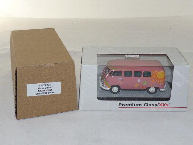 Premium ClassiXXs 13851 vw t1 Bus-Flowerpower Rose 1 43 Neuf + neuf dans sa boîte