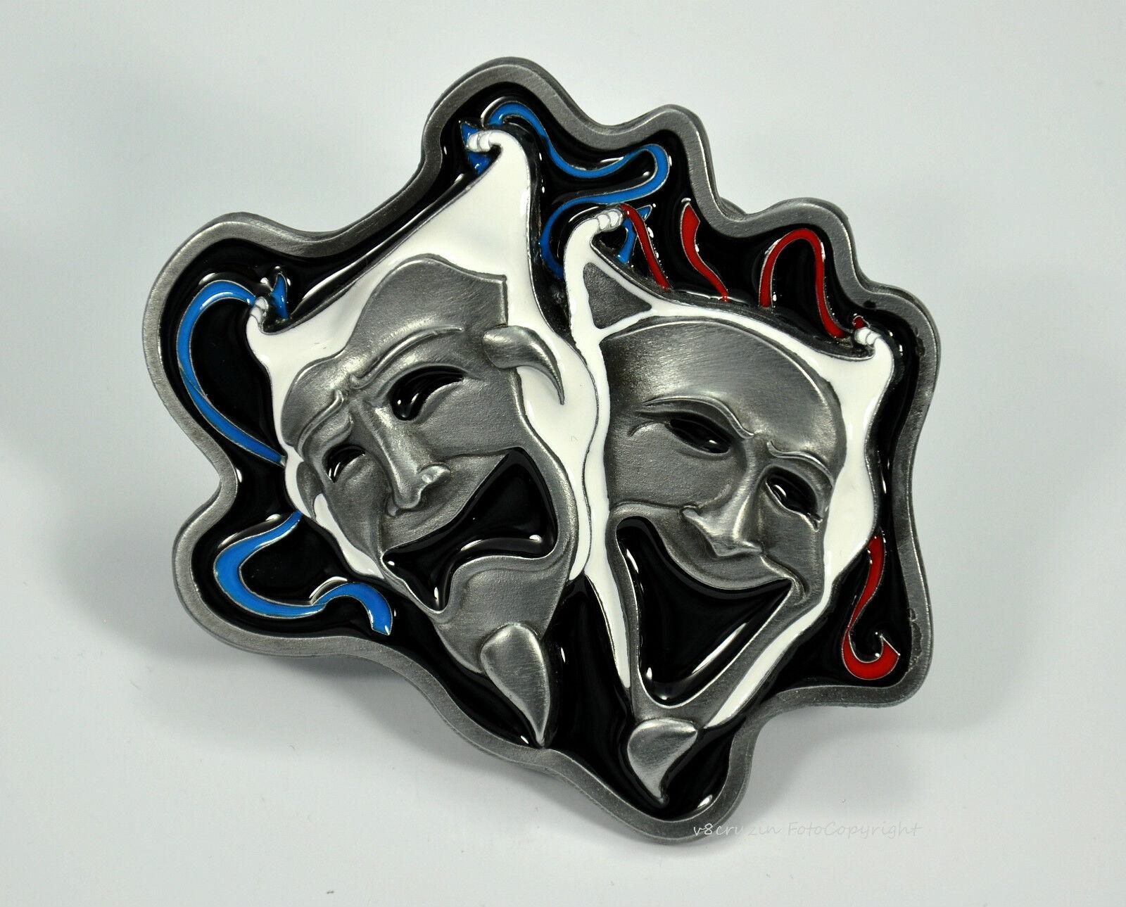 * Maske Theater Gürtelschnalle Maskenball Belt Harlekin Joker Buckle *556
