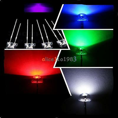 5mm Straw Hat UV Purple//Blue//Green//Red//White// Color LED Wide Angle Light Lamp