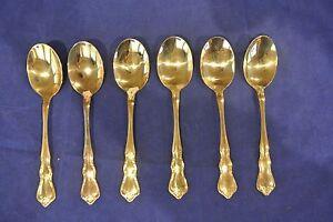 Set-of-6-Gold-Tone-finish-Walco-Flatware-Floral-Rose-Sugar-Spoons
