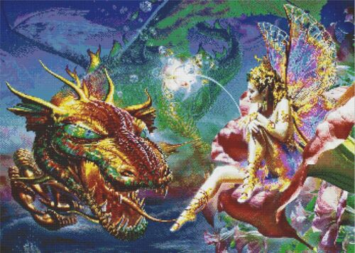 DRAGON AND FAIRY # 2 CROSS STITCH CHART