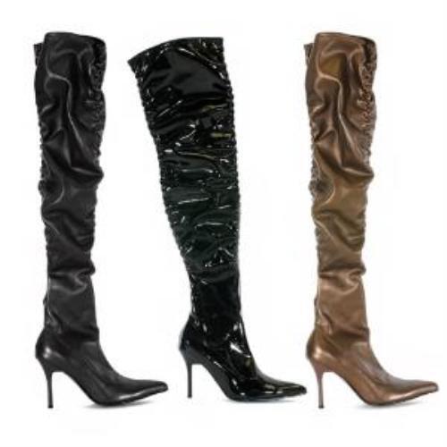 Penthouse Heels Brand Black Thigh High Scrunch Boots 3.75