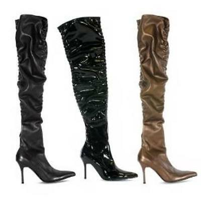 "Penthouse Brand Black Thigh High Scrunch Boots 3.75/"" Heels ph371-lala US SIZE 5"