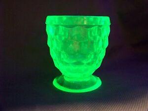 VASELINE URANIUM GLASS MUSTARD CUP OR TOOTHPICK HOLDER GLOW (( id132133))