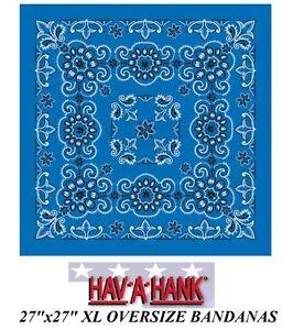 "Hav-A-Hank XL BIG SUPER OVER-SIZED ROYAL BLUE PAISLEY 27/""BANDANA Head Neck Scarf"