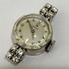 STUNNING VINTAGE LADIES 14K GOLD ROLEX WITH 8 DIAMONDS. NO BAND Gains Two Mins