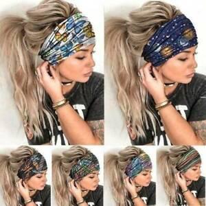 Women Wide Sport Yoga Headband Hairband Elastic Wrap Turban Stretch Hair Band