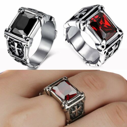 Men/'s Stainless Steel Celtic Cross Claw Stone Cubic Zirconia Band Ring P ½-Z ½