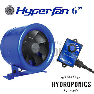 "Hyper Fan Digital Mixed Flow 6"" Inline Duct Fan - 315 CFM with speed controller"